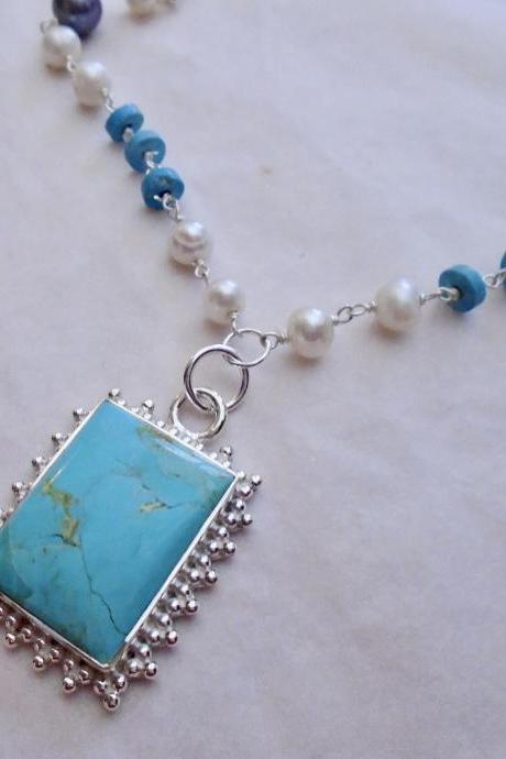 Turquoise gemstone sterling silver necklace
